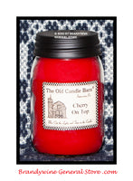 Cherry on Top scented primitive pint candle jar made by The Old Candle Barn