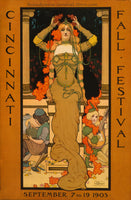 A premium art print of a 1903 poster advertising the Cincinnati Fall Festival.