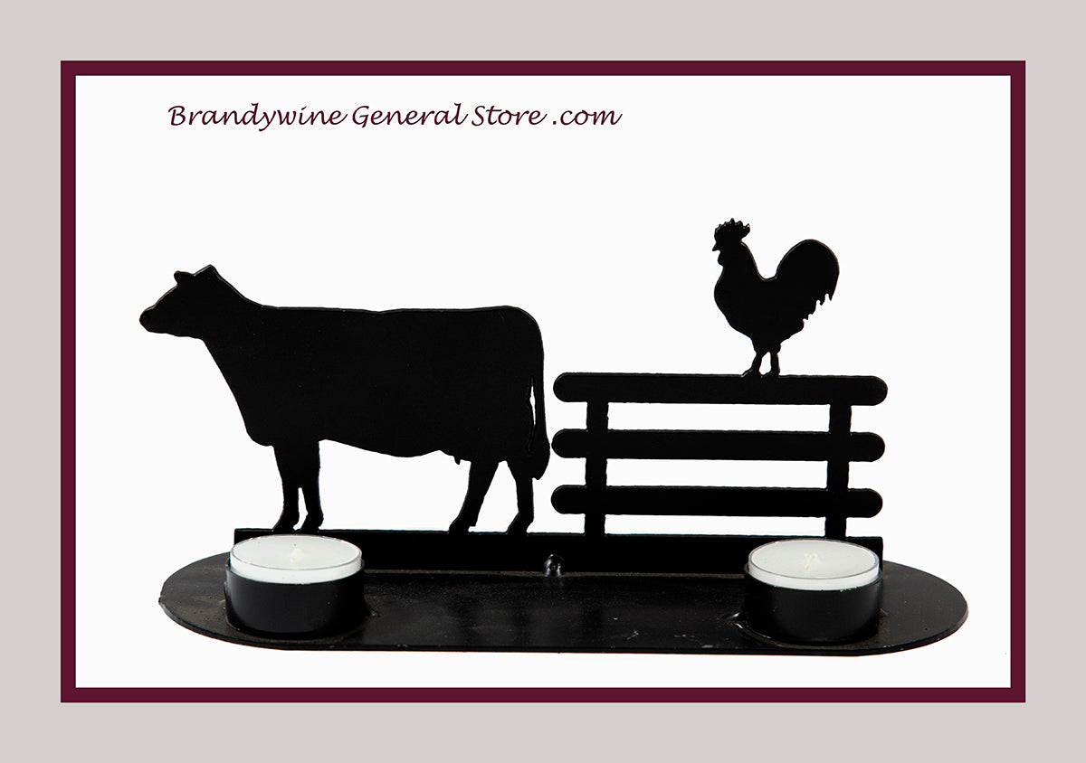 Cow and Rooster on a Fence tea light holder hand forged by the Lancaster Amish
