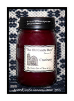 Cranberry scented primitive pint candle jar made by The Old Candle Barn
