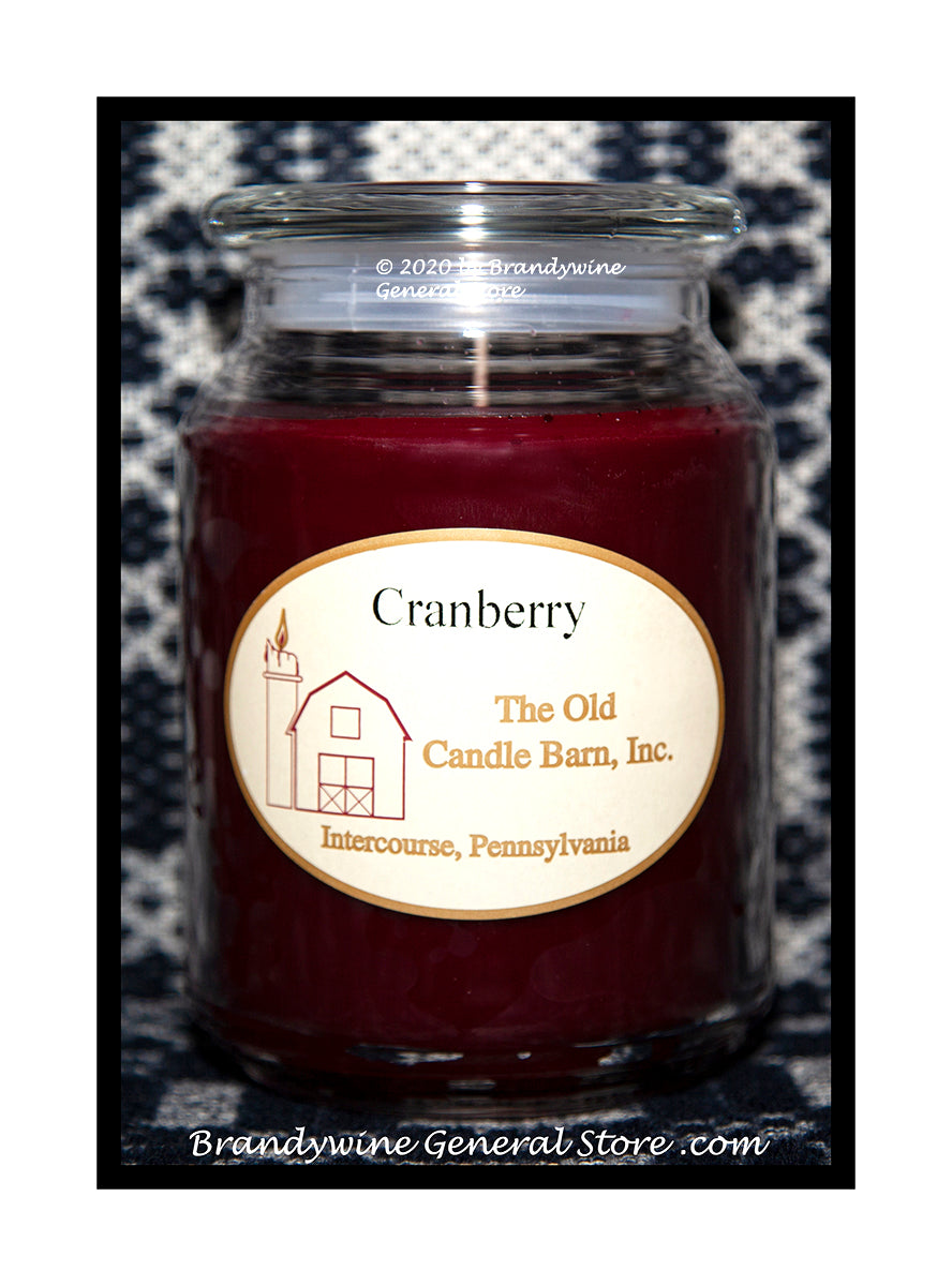 Cranberry scented large Terrace candle jar made by The Old Candle Barn