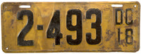 1918 District of Columbia License Plates