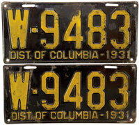 1931 District of Columbia License Plates