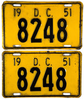 1951 District of Columbia License Plates