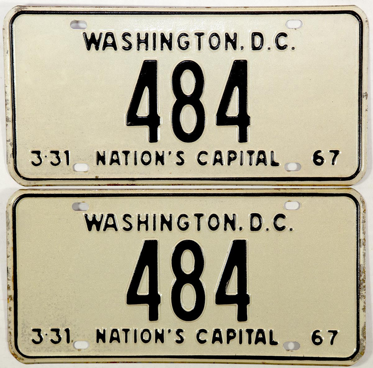 1967 District of Columbia License Plates
