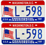 1981 District of Columbia Inaugural License Plates