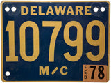 1978 Delaware Motorcycle License Plate