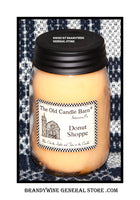 Donut Shoppe scented primitive pint candle jar made by The Old Candle Barn