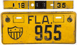 1935 Florida Army License Plate in Very Good Condition