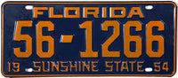 1954 Florida License Plate