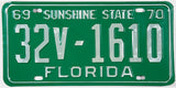 A classic 1969 - 1970 Florida trailer license plate