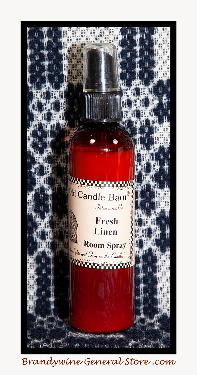 Fresh Linen 4 ounce bottle of room spray by The Old Candle Barn in Lancaster County