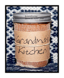 Grandma's Kitchen primitive half pint candle jar by Black Crow