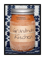 Grandma's Kitchen primitive pint candle jar by Black Crow