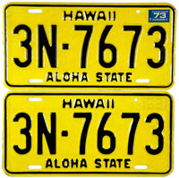 1973 Hawaii License Plates