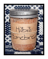 Hillbilly Homebrew scented primitive half pint candle jar by Black Crow