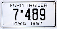 1957 Iowa Farm Trailer License Plate