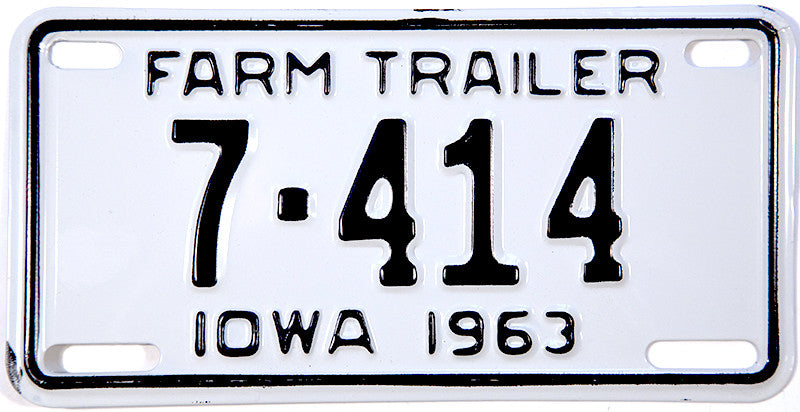 1963 Iowa Farm Trailer License Plate