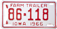 1966 Iowa Farm Trailer License Plate