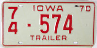 A classic 1970 Iowa Trailer license plate