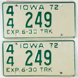 A pair of NOS 1972 Iowa Truck License Plates