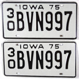 A pair of 1975 Iowa Car License Plates