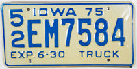 1975 Iowa Truck Half Year License Plate