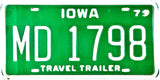 1979 Iowa Travel Trailer License Plate