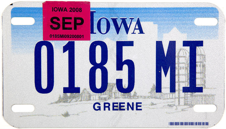 2008 Iowa Motorcycle License Plate