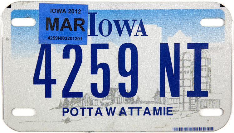 2012 Iowa Motorcycle License Plate