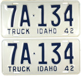 1942 Idaho Truck License Plate DMV #7A-134