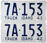 1942 Idaho Truck License Plate NOS Excellent Plus condition