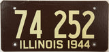 1944 Illinois License Plate in excellent minus condition