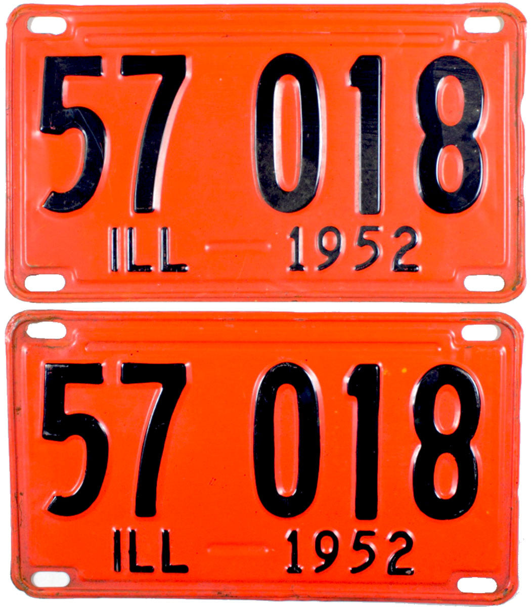 1952 llinois License Plates