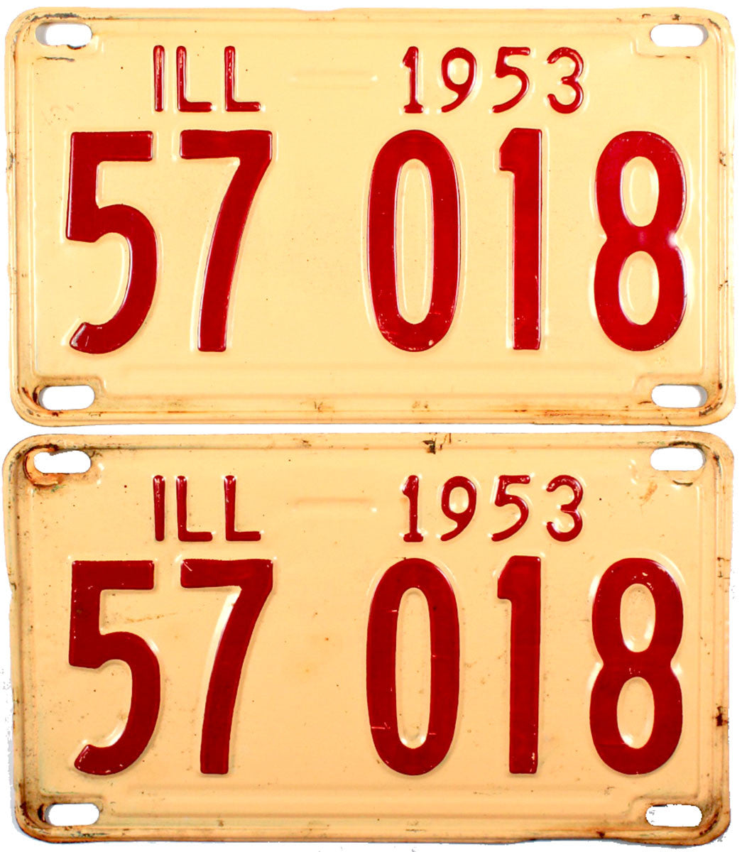 1953  llinois License Plates