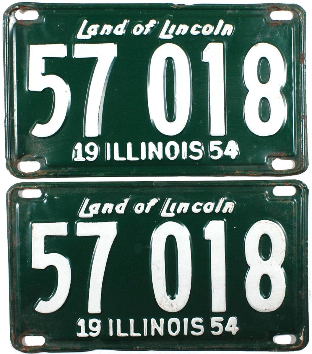 1954 Illinois License Plates