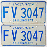 A pair of 1972 Illinois Passenger Automobile License Plates