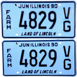 1990 Illinois Farm License Plates
