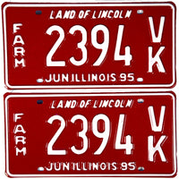 1995 Illinois Farm License Plates