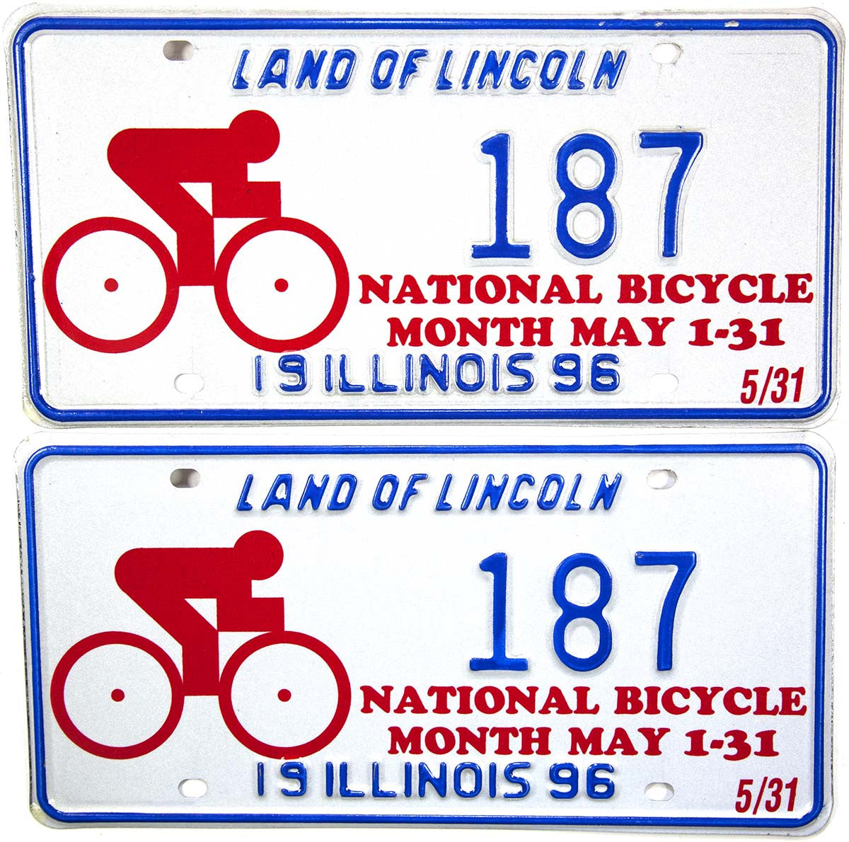 1996 Illinois National Bicycle Month License Plates