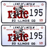 2000 Illinois National Bike Month License Plates