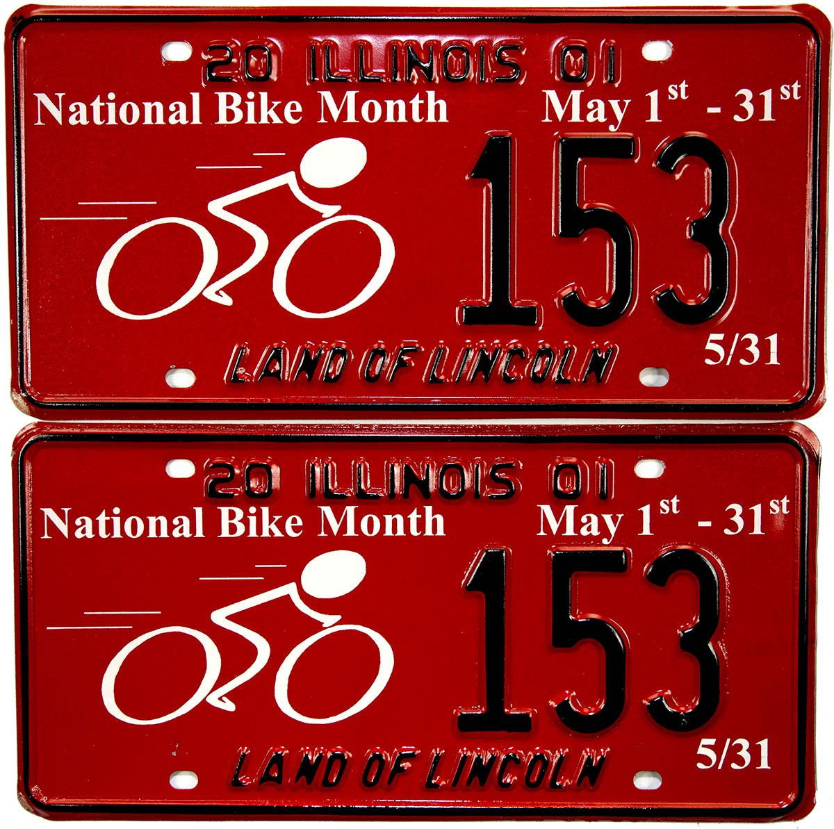 2001 Illinois National Bicycle Month License Plates