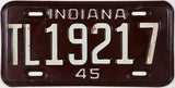 An antique WWII 1945 Indiana Trailer License Plate