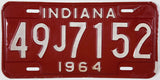 1964 Indiana License Plate in Excellent Minus condition