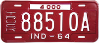 1964 Indiana Truck License Plate