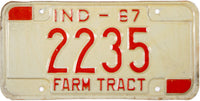 1967 Indiana Farm Tractor License Plate