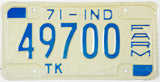 1971 Indiana NOS Farm Truck License Plate