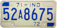 1971 Indiana License Plate