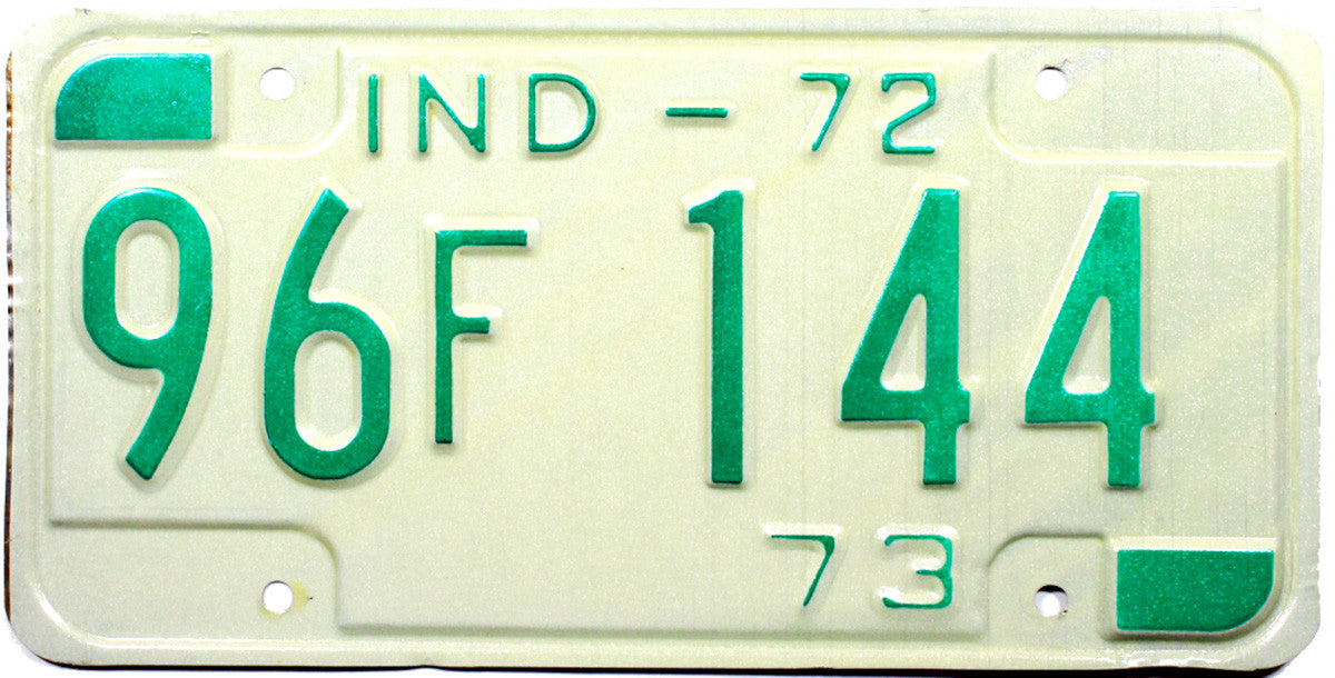 1972 Indiana License Plate