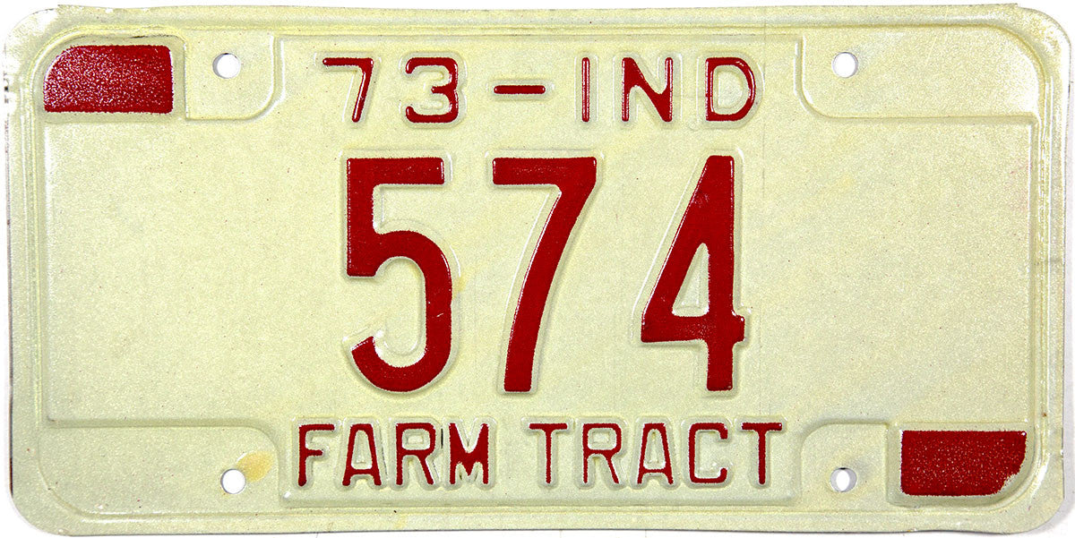 1973 Indiana Farm Tractor License Plate